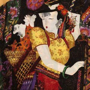 Chico's silk blouse w geisha print
